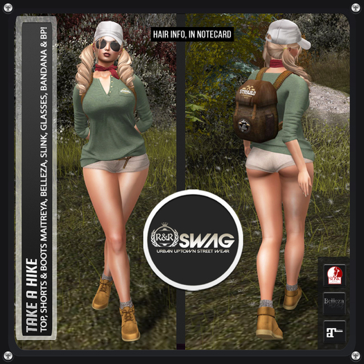 [RnR] Swag Take a Hike Hers Outdoor Outfit includes Slink Physique, Hourglass, Maitreya Lara, Belleza Freya, Isis, Venus