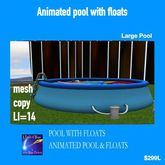 Large animated inflatable pool with floats(crate)