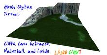Grassy Waterfall Cliffs