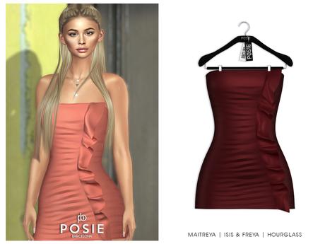 POSIE - Diana Mini Dress .BURGUNDY