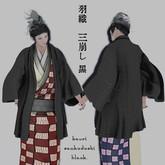 Kimono-style jacket 羽織 Haori [sankuzushi] (black) ★ worn over a Kimono