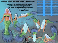 Animesh Friend Mermaid Model 2 green blue all in one mesh rigged with menu 27 animations swim,float,dance Move together