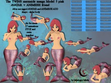 The Twins Mermaids Avatar + Animesh friend Model 5 pink 27 anim