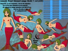 Animesh Friend Mermaid Model 5 red all in one mesh rigged with menu 27 animations swim,float,dance,lay...Move together