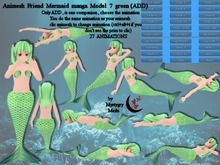 Animesh Friend Mermaid manga Model 7 green all in one mesh rigged with menu 27 animations swim,float,dance,lay...Move to