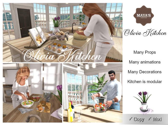 Maya's - Olivia Kitchen, Full Set , Animations, Decorations