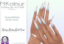 N.Kolour: Maitreya Long Stiletto Mesh Nails - Omega