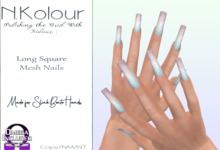 N.Kolour Slink Long Square Mesh Nails - Omega