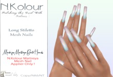 N.Kolour: Maitreya Long Square Mesh Nails - Maitreya Only