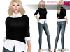 MAITREYA FULL PERM FITMESH Ladies Crew Neck Sweater With Rolled Up Sleeves Shirt