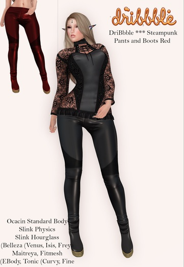 DriBbble *** Steampunk Pants and Boots Red