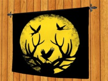 TAPESTRY HANGING WALL ART ON ROD-Antlers Moon Birds of Night-cloth print Home Decor Interior Design copy/mod 1 Prim SALE