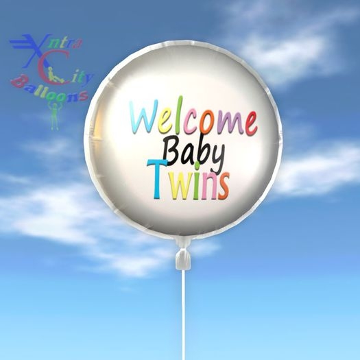 Balloon - Welcome Baby Twins - Transfer - Xntra City Balloons