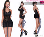 MAITREYA FULL PERM FITMESH Leather Zip Up Mini Dress with Lace Parts