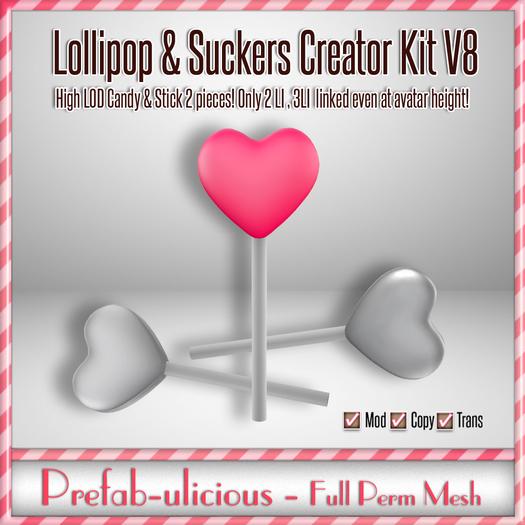 Prefabulicious - Full Perm Mesh Lollipop & Sucker Creator Kit V8