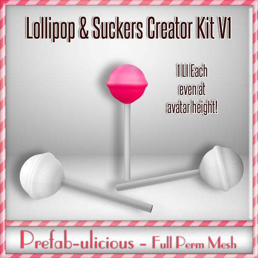 Prefabulicious - Full Perm Mesh Lollipop & Sucker Creator Kit V1