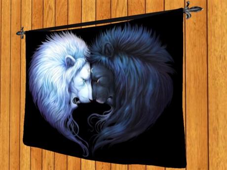 TAPESTRY HANGING WALL ART ON ROD-Lions Sun Meets Moon- Cloth Print Home DECOR interior furnishings copy/mod 1 PRIM promo
