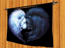 TAPESTRY HANGING WALL ART ON ROD-Lions Sun Meets Moon- Cloth Print Home DECOR interior furnishings copy/mod 1 PRIM promo