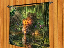TAPESTRY HANGING WALL ART ON ROD-Tiger of the Deep Forest cloth Print HOME Decor furnishings copy/mod 1 PRIM PROMO SALE