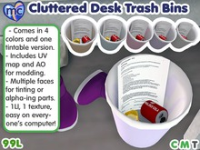 (mc) Cluttered Desk Trash Bin