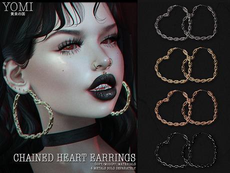 [Yomi] - Chained Heart Earrings - Black