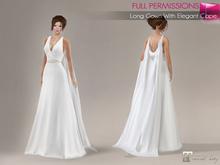MAITREYA FULL PERM FITMESH Deep Cleavage Sleeveless Long Elegant White Dress Gown with Long Cape