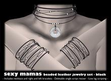 *Sexy Mamas* BEADED LEATHER Jewelry Set - Black - Necklace - Bracelets