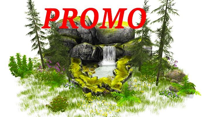 PROMO Jad Garden - Waterfall rock pond with pines