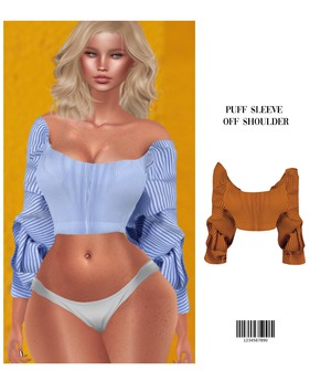 Puff Sleeve Off-Shoulder [ORANGE] HG, BBL, 9S JESSICA, SKING REG, EBODY CURVY, LARA  ::Kloss::