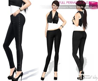MAITREYA FULL PERM FITMESH Skinny Black Pants Leggings with Rivets
