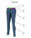 Mesh womens skinny pants with rivets faces