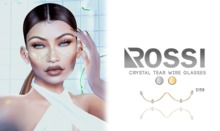 ROSSI. Crystal Tear Wire Glasses GOLD