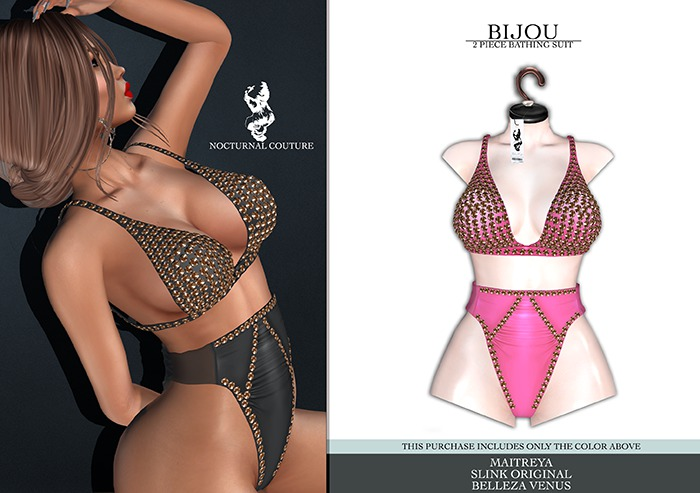 Nocturnal Couture Bijou Bathing Suit - Barby Pink
