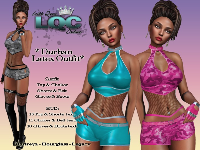 *LQC* ♕ Durban Sexy Latex outfit (Top-Shorts-Choker-Boots-Gloves) ♕