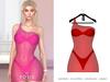 POSIE - Ashanti Fishnet Dress .NEON RED