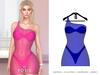 POSIE - Ashanti Fishnet Dress .NEON BLUE