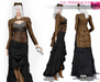 MAITREYA FULL PERM FITMESH Steampunk Brown Long Sleeve Keyhole Cut Out High Neck Jacket with Ruffled Tail