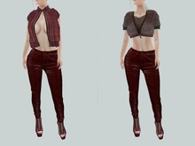 gacha outfit 528 !gO! Autumn - vest [Azuchi] Selina Pants Red* [BREATHE]-Astrid Heels-Wine {Reverie} Dirty Glass Top