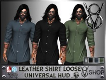 LEATHER LOOSE SHIRT UNIVERSAL HUD 3 COLORS  +V8 SHOP+
