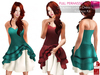 SLINK HOURGLASS FULL PERM Strapless Sweetheart Neck Layered Asymmetrical Ruffled Skirt Cocktail Dress