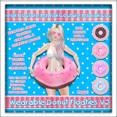 [: Kawaii Couture :] Wearable Donut Floatie V2 - Vanilla [HUD]