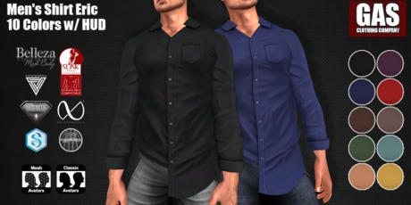 GAS [Men's Shirt Eric - 10 Colors w/HUD FATPACK]