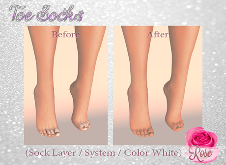 -*Rose*- Toe Socks (White) Modifiable > Bake on Mesh