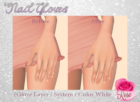 -*Rose*- Nail Gloves (White) Modifiable > Bake on Mesh