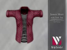 //Volver// James Shirt - Dots Maroon
