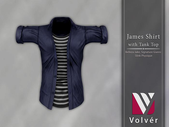 //Volver// James Shirt - Plain Navy