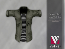 //Volver// James Shirt - Plain Army Green