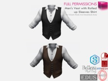 Full Perm Mens Vest with Rolled up Sleeves Shirt Belleza Jake Slink Male Signature Gianni Ocacin Gamit