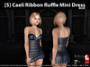 [S] Caeli Ribbon Ruffle Mini Dress Blue
