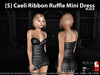 [S] Caeli Ribbon Ruffle Mini Dress Black